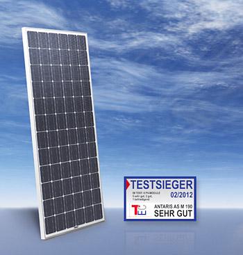 Erzielte im Vergleichstest den höchsten Energieertrag: das Photovoltaik-Solarmodul AS M 190 von ANTARIS SOLAR
