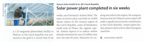Pressemeldung pv magazine 2009/03 - Solar power plant completed in six weeks